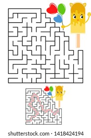 Abstract square maze. Kids worksheets. Game puzzle for children. Cute ice cream on a white background. One entrances, one exit. Labyrinth conundrum.  illustration. With the answer.