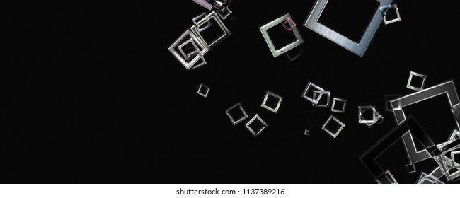 Abstract square panorama glass 3D background design illustration