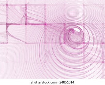 Abstract Square Pink Background on White with Swirl