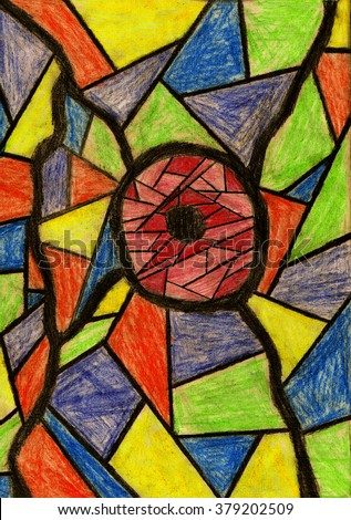 abstract stained glass background drawing colored pencils stock
