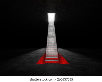 Abstract staircase that is placed on a dark space. Staircase descends into a niche in the floor, which glow red and raised in a niche in the ceiling that shines white light