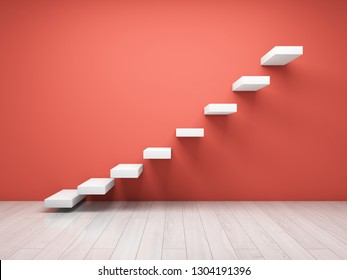 Abstract stairs on wall in coral tone. 3D illustration.