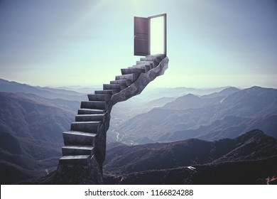 Abstract stairs with open door on landscape background. Opportunity concept. 3D Rendering