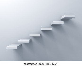Abstract stairs or steps concept on white wall background