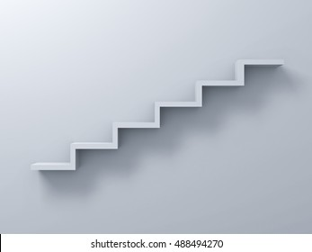 Abstract stairs or steps concept on white wall background with shadow. 3D rendering.