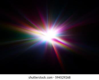 abstract star colorful radiant explosion on a black background