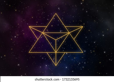 Abstract star tetrahedron merkaba in the universe with beautiful cosmos and stars field.