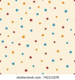 Abstract starry seamless pattern on the beige background. Cute blue, red and orange stars. Raster copy.
