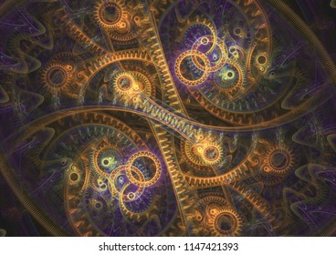 Abstract steampunk background, cogwheel and engine abstract