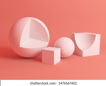 Abstract still life installation with white geometric shapes over pink soft shaded background. Subtract Boolean operation illustration. 3d rendering