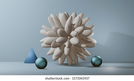 Abstract still-life background with geometric 3D shapes. 3D illustration