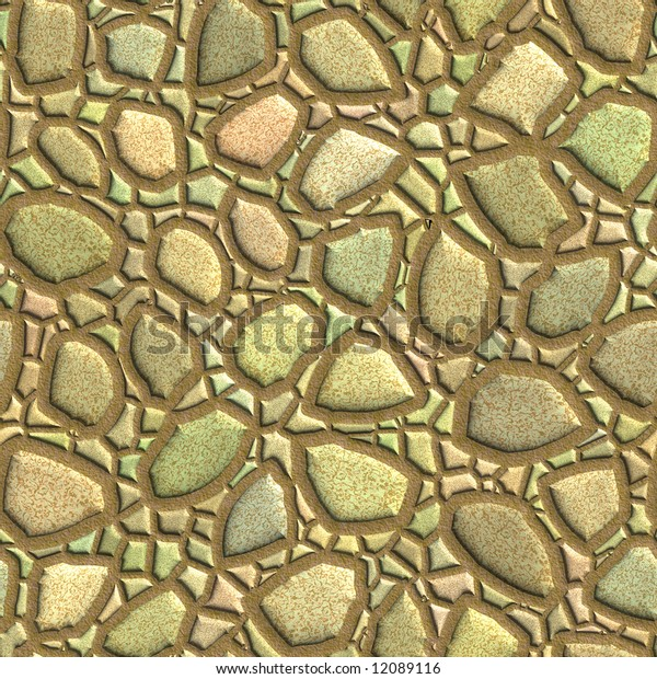 Abstract stones (wall) seamless texture. Computer generated background