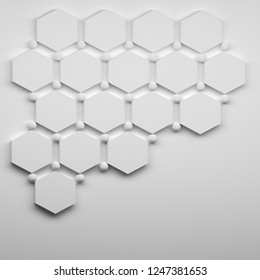 Abstract structure with hexagons and balls on the white surface.  Iamge for presentation with copy blank space. 3d illustration.