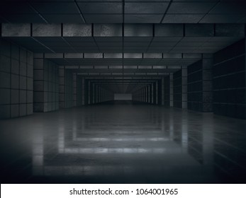 Abstract structure,Product showcase background,Long dark corridor interior design.3D rendering