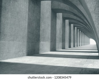 Abstract structure,Product showcase background,Long tunnel,concrete corridor.3D rendering
