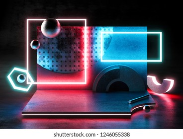 Abstract style background with design elements. Flying objects background concept. 3D rendering. Neon background.