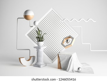 Abstract style background with design elements. Flying objects background concept. 3D rendering.