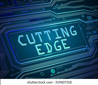 Abstract style illustration depicting printed circuit board components with a cutting edge concept.
