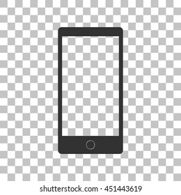 Abstract style modern gadget with blank screen. Template for any content. Dark gray icon on transparent background.