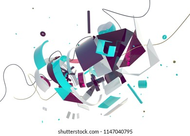 Abstract stylish 3D composition made of different shapes and objects in space
