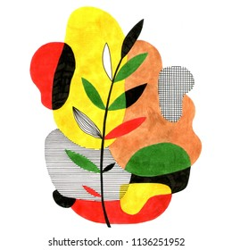 Abstract stylish illustration in modern style with unusual leaf. Hand drawn raster print for your contemporary design.