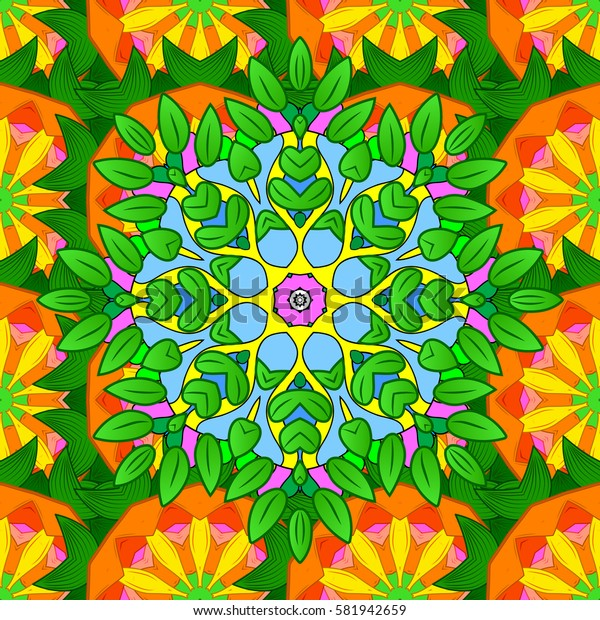 Abstract stylized colored mandala. Intricate colored Arabesque with on a background.