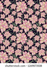 Abstract succulent flowers seamless background. Green and pink flower plants on black background. Modern floral pattern for fabric, wallpaper, gift wrap, web banner, page fill, scrapbooking, paper