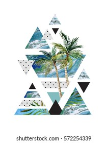 Abstract summer geometric poster design. Triangles with watercolor palm tree, leaves, marble, grunge textures, doodles. Water color background in retro vintage 80s or 90s. Hand painted illustration