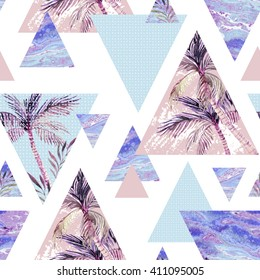 Abstract summer geometric seamless pattern. Triangle with palm tree, leaf and marble grunge textures. Abstract geometric background in retro vintage 80s or 90s. Hand painted summer beach illustration