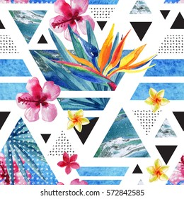Abstract summer geometric seamless pattern. Triangles with watercolor tropical flowers, palm leaves, marble, grunge textures, doodles. Water color exotic background. Hand painted minimal illustration