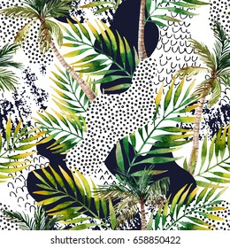 Abstract summer geometric seamless pattern. Watercolor palm trees and leaves, smooth bend shapes filled with ink grunge, minimal doodle textures on white background. Hand painted tropical illustration