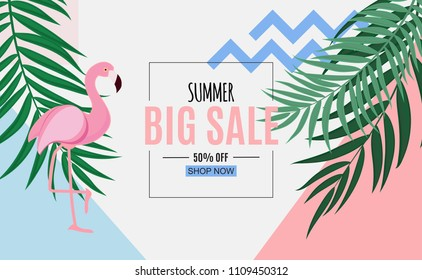 Abstract Summer Sale Background with Palm Leaves and Flamingo.  Illustration
