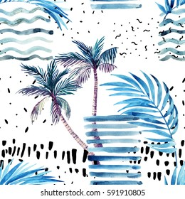 Abstract summer seamless pattern. Watercolor palm tree, leaves, grunge textures, doodles, brush strokes. Water color background in minimalistic style. Hand painted tropical illustration