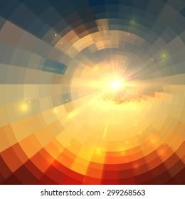 Abstract sunrise circle technology mosaic background
