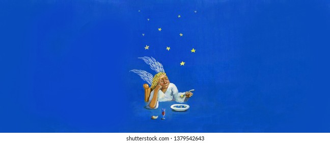 abstract surreal painting an angel eat stars reflected in the plate from the sky acrylic on paper