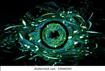 Abstract the symbol for the celebration of Halloween in the form of terrible demonic blue eye. Fractal art graphics