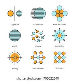 Abstract symbols color icons set. Opposite, movement, concentration, whole, chaos, spreading, aiming, connections, structure concepts. Isolated raster illustrations