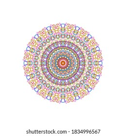 Abstract Symmetric line in round shape. Multiple mixed colorful line pattern in white background. Complicate diffusion concept.