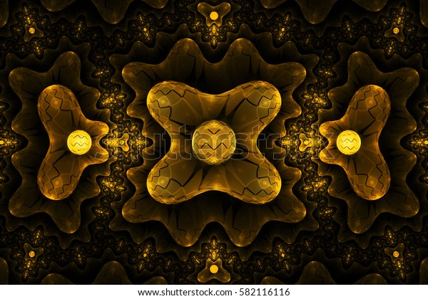 Abstract symmetrical futuristic ornament in golden colors. Fantasy fractal background. Digital art. 3D rendering.