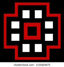 Abstract symmetrical pattern with quadrilaterals in red, white and black on black background. Three-color ornamental pattern with quadrilaterals in red, black and white.