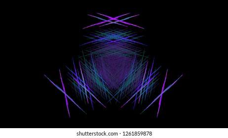 Abstract symmetrical purple and violet lines in shape. Fantastic 3D rendered digital fractal illustration.