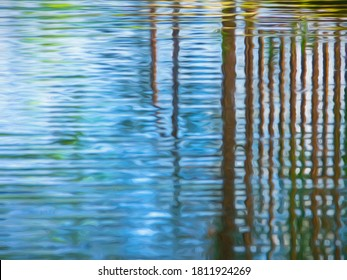 Abstract of tall ironwork gate reflected in garden pond, with digital painting effect and canvas texture