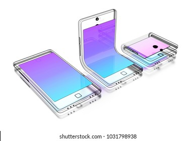 Abstract technical drawing of a foldable smartphone on white background. 3d illustration.