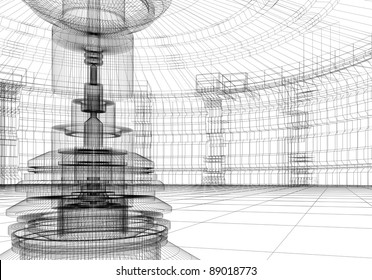 Abstract technolgy interior in 3D wire-frame
