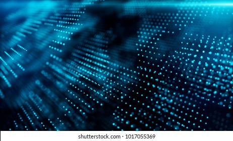 Abstract technological background with dots in space 3d illustration