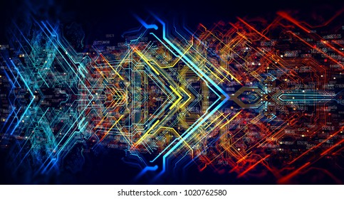 Abstract technological background made of different element printed circuit board and flares. Depth of field effect and bokeh. 3d Rendering/Printed circuit board in the server executes the data