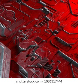 Abstract technological background made of different element printed circuit board and flares. 3d rendering