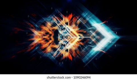 Abstract technological background made of different element printed circuit board and  bytes of binary code flying through a vortex. Background code depth of field and blurred motion. 3d Rendering