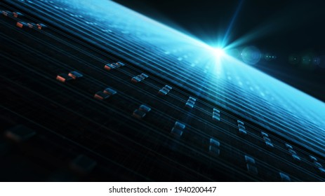 Abstract technological background made of different element printed circuit board. Depth of field effect and bokeh. Printed circuit board in the server executes the data. 3d Illustration