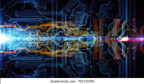 Abstract technological background made of different element printed circuit board and flares. Depth of field effect and bokeh. 3d Illustration/Printed circuit board in the server  executes the data